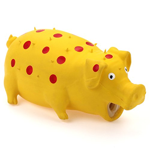 Chiwava Pet 8.5 inch Grunting Squeaky Latex Dog Toy Polka Dot Goblet Pig Interactive Play for Large Dogs Yellow