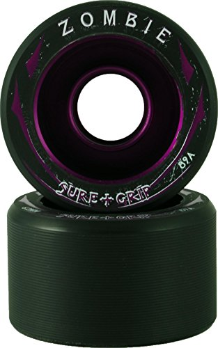 New! Sure Grip Zombie Quad Indoor Speed Skate Roller Derby Wheels - 8 Pack! (Purple (89A), Low (58mm x 38mm))