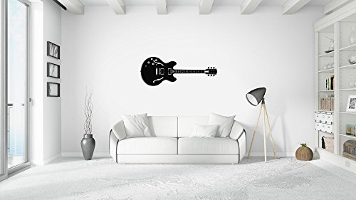 LaModaHome Wall Art Accessories 100% Metal Thickness 0.1'' (47.2'' x 17.7'') Guitar Music Dance Lifestyle Black Modern Design Stylish Art Home Decor Perfect Design for Home, Office, Room by LaModaHome