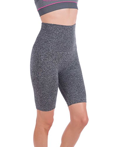 Homma Women's Tummy Control Fitness Workout Running Yoga Shorts (Medium, H.Grey)