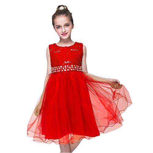 DreamHigh Wedding Flower Girls Crystals Waist Taffeta Pageant Dress Red ()