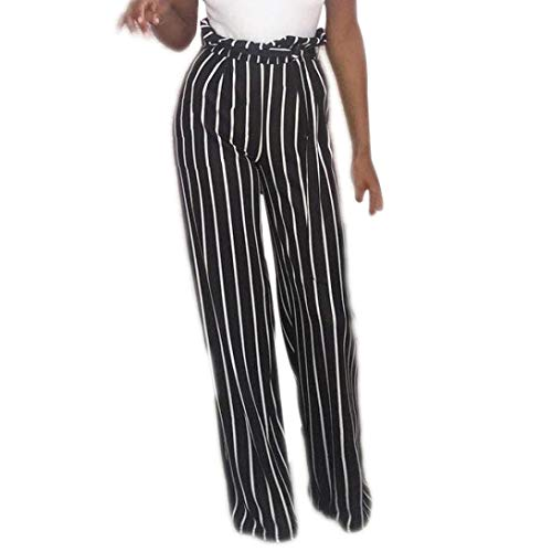 JOFOW Women's Trousers,Autumn Casual Striped Loose High Waist Belted Tie Pleated Elastic Tunic Long Wide Leg Pants for Women (XL,Black)