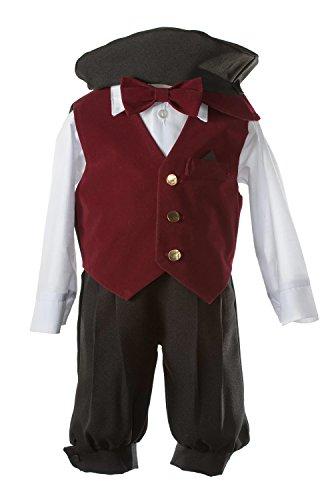 Black Holiday Knicker Set Burgundy Velvet Vest & Pageboy Hat in Baby Sizes (12 Month) ()