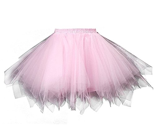 Kileyi Womens Tutu Costume Adult Party Dance Tulle Skirt Short Fluffy Petticoat Pink S]()