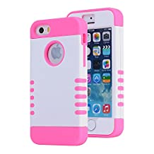 iPhone SE Case, Asstar [Stand Feature] Durable Soft TPU+PC 3 in 1 Hybird Hard Back All-round Protection Case Suitable for iPhone SE / 5S / 5 (White+rose)