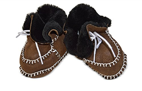 Toscana SHEARLING Supersoft oveja bebé patucos marrón glitter brown suede & white shearling Talla:Size 3-12 months milk chocolate suede & black shearling