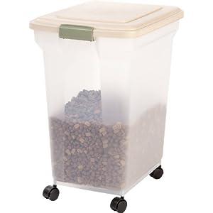 IRIS Premium Airtight Pet Food Storage Container, 55-Pounds, Almond