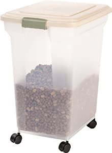 The IRIS Premium Airtight Pet Food Storage Container is the perfect solution to store dry pet food. The airtight sealed storage container locks in freshness and keeps moisture, humidity, and pests out. The snap-tight latch confirms that the lid is sh...