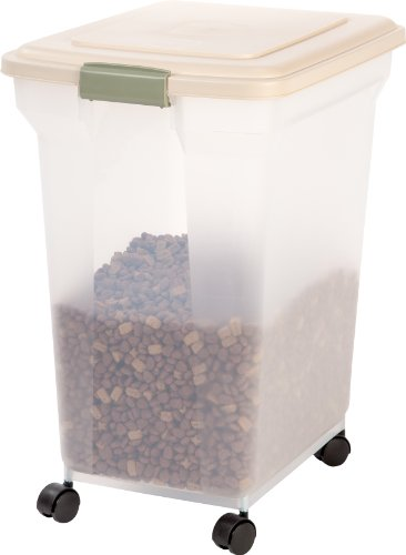 IRIS Premium Airtight Pet Food Storage Container, 55-Pounds,  Almond