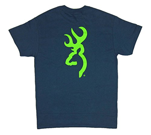 Browning Men's Short Sleeve Blue Dusk T-Shirt Lime Green Buckmark Tee X-Large
