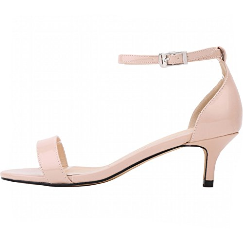 YAOYUE Low Mid Heels Kitten Sandals Perfect Height Comfortable Peep Toe Ankle Strap Casual Wedding Shoes Patent Leather for Women Laydies Nude lUeCYaHgAb