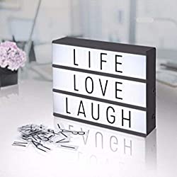 A4 Light Box With Letters Emoji Numbers (119 Color + 84 Black) LED DIY Letter Board Light Box USB Cinema Light Box With Letters Gift For Birthday Festival Photo Props Decoration Inspirational Reminder