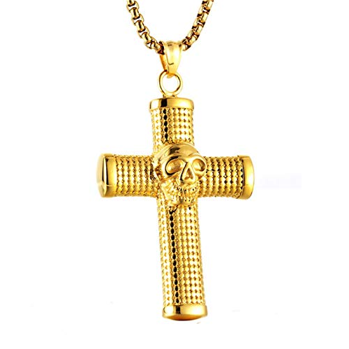 - Aokarry Jewelry-Stainless Steel Necklace for Men Boy Skeleton Skull CrossPendant Necklace Gold 6.1CM