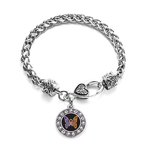 Inspired Silver - Psoriasis Awareness Butterfly Braided Bracelet for Women - Silver Circle Charm Bracelet with Cubic Zirconia Jewelry