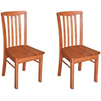 East West Furniture HLC-CHR-W Chair Set for Dining Room with Wood Seat, Light Cherry Finish, Set of 2