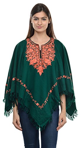 The MadhuSudan Gallery Indian Kashmiri Women's Poncho/Overcoat Hand Embroidery Paisley Work with Inner Lining (Free Size)