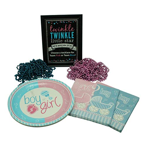 Gender Reveal Party Supplies - Twinkle Twinkle Little Star Deluxe Package for 16 - Plates, Napkins, and Sign with Gender Reveal Necklaces (1 doz Pink and 1 doz Blue)-Baby Reveal Party Decorations ()
