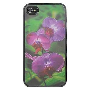 3D Changeable Purple Flower Pattern Hard Case for iPhone 4/4S