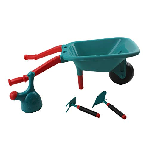 Chranto Lucky 7 !! Pretend Play Kids Wheelbarrow & Tool Belt Bundle for Childrens Gardening