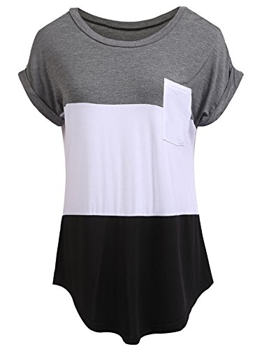 Colour Block (Zeagoo Women's Casual Color Block Short Sleeve T Shirt Tunic Tops with Pocket Gray M)