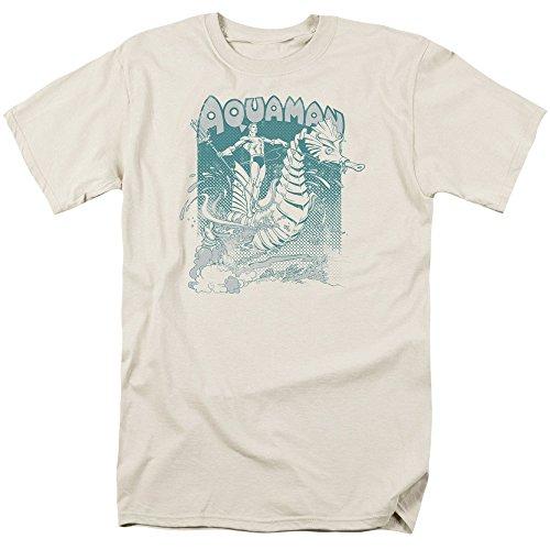 Trevco Men's Aquaman Short Sleeve T-Shirt, Cream, ()