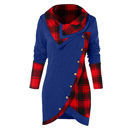 HULKAY Top Women's Cowl Neck Plaid Drawstring Button Hoodie Sweatshirt Tunic Dress(Blue,S)