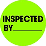 Tape Logic DL1265 Circle Label, Legend''Inspected By'', 1'' Diameter, Fluorescent Green (Roll of 500)