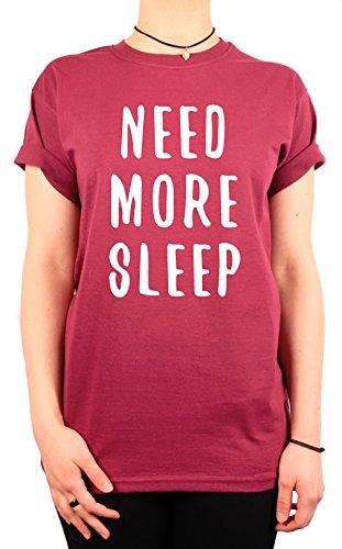 """TheProudLondon Need More Sleep"""" Unisex T-shirt (Medium, Maroon)"""