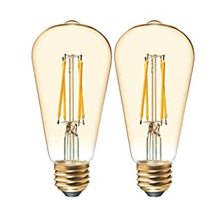 GE Lighting Vintage Amber Glass LED Light Bulbs, 40W Replacement, Dimmable Edison Light Bulbs, ST19, 2-Pack, Warm Candle, Medium Base