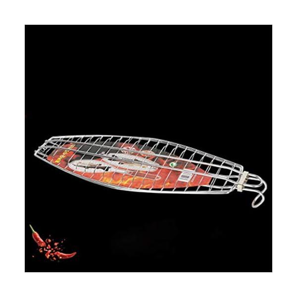 xiuJUNhoho Barbecue Grilling Basket Fish Meat Clip Hangable Grilled Fishes Folder Attrezzi da Picnic per Barbecue 3 spesavip