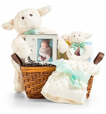 GiftTree Little Lamb Baby Gift Set - Perfect New Baby Gift Bakset for Parents - Includes Plush Lamb, Blanket, & Rattle, Keepsake Picture Frame, and Baby Bath Essentials