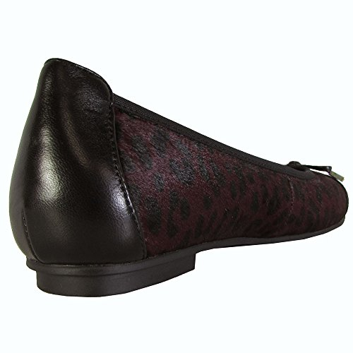 Vionic Womens 359 Minna Leather Shoes Wine/Wine Leopard