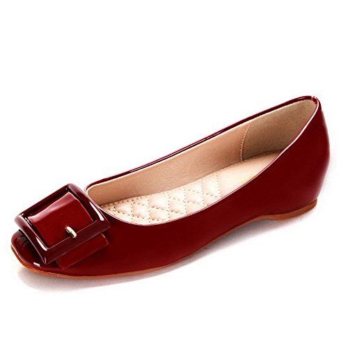 AalarDom Damen Weiches Material Ziehen Auf Quadratisch Zehe Niedriger Absatz Pumps Schuhe Weinrot-Schnalle
