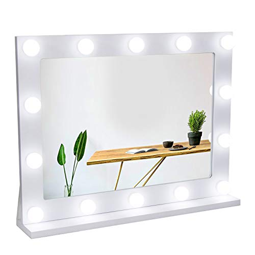 Waneway Vanity Mirror with Lights, Hollywood Lighted Makeup Mirror with 14 Dimmable LED Bulbs for Dressing Room & Bedroom, Tabletop or Wall-Mounted, Slim Wooden Frame Design, White (Ideas Wall Design Mirror)
