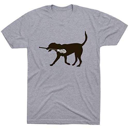 Youth Lacrosse Jersey Shirt - Max The LAX Dog T-Shirt | Guys Lacrosse Tees by ChalkTalkSPORTS | Gray | Youth X-Large