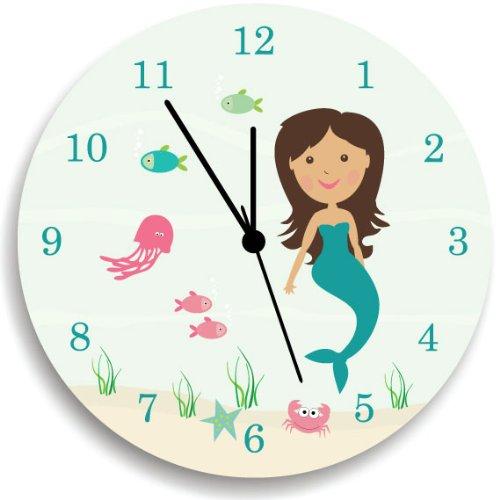 Mermaids Wall Clock for Girls Bedroom, Ocean Sealife Wall Clock with Mermaid, Wall Hanging for Girls by Kid'O Design Studio