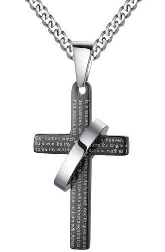 Arco-Iris-Schmuck-Herren-Anhnger-Halskette-Edelstahl-Kreuz-mit-Vaterunser-auf-Englisch-und-Ring-Verstellbaren-Panzerkette-Bibel-Gebet