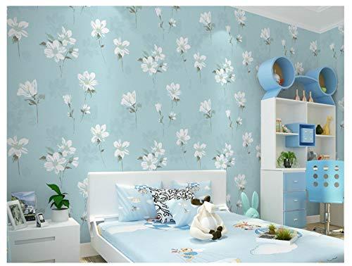Blue Wallpaper Light Stripe (Wall Non-Woven Mural Wallpaper Textured Idyllic Flower Light Blue Bedroom Modern Livingroom Background)