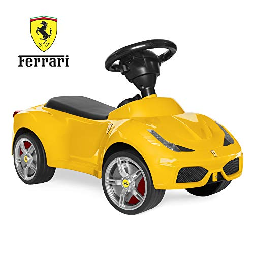 (Best Choice Products Kids Licensed Ferrari 458 Sports Car Ride-On Push Pedal Vehicle w/ Steering Wheel, Horn- Yellow)