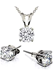3-Piece Set: 3 Carat Total Weight White Cubic Zirconia Necklace & Earrings Set
