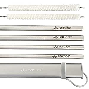 Reusable Straws with Case, Metal Straws, Stainless Steel Straws, Set of 4 with Grey Travel Case & Cleaning Brush, 21.5cm Straight Straw Kit, Portable Straws for Personal Use, Zero Waste Drinking Accessories