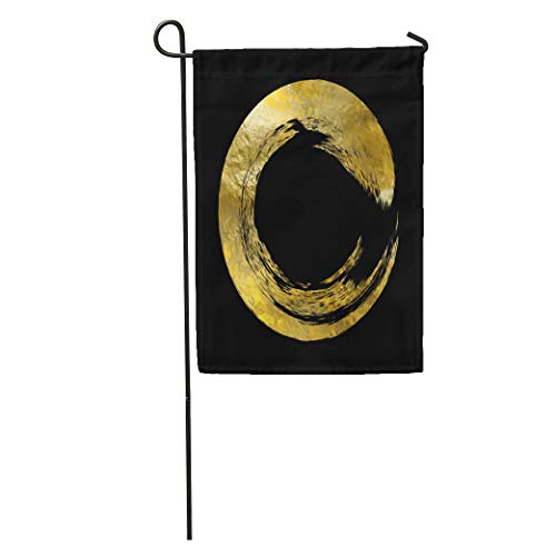Semtomn Garden Flag Black and Gold Templates for Brochures Flyers Mobile Technologies Applications Home Yard House Decor Barnner Outdoor Stand 28x40 Inches Flag