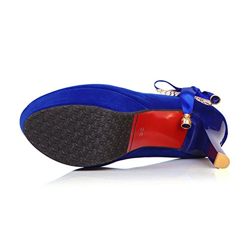 BalaMasa Womens Slip-on High-Heels Solid Blue Frosted Pumps-Shoes - 7 UK 16e0lD9p8K