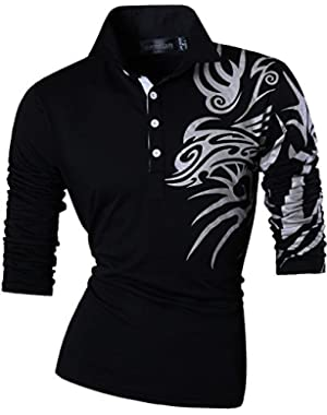 Men's Slim Fit Long Sleeve Casual POLO Tees Shirts Tops T-Shirts Tshirts U005