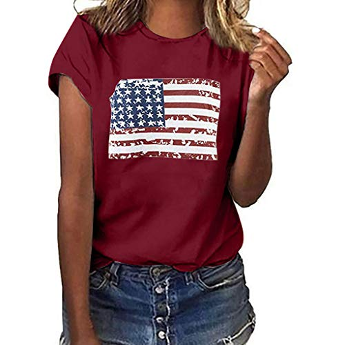 Women July Fourth T-Shirt National Flag Independence Day Print Short Sleeve Tops -