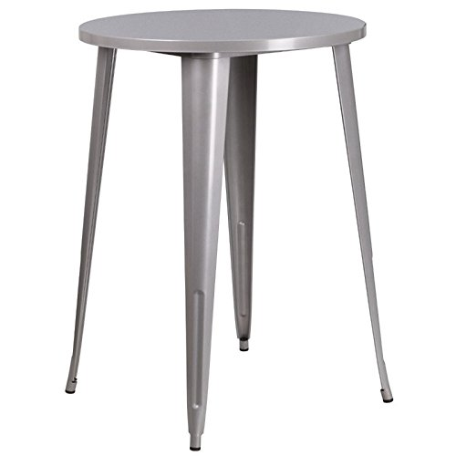 BOWERY HILL Metal Patio Bistro Table in Gray