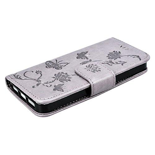 Schutzhülle iPhone 5/5S/Wenn Bücher braun Muster Blumen und Schmetterlinge, Smart Legend Handy Premium Leder und Silikon TPU mit Geldbörse Card Slot 360Grad Schutzhülle, Flip Bumper Case