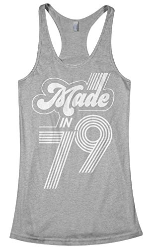 Made in 1979 (White) | 40th Birthday Gift Women's Racerback Tank Top | Medium, Sport Gray