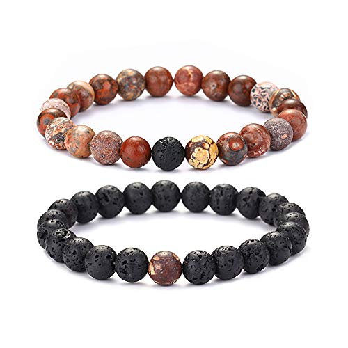 KAVANI Natural 8mm Tiger Eye Stone Gorgous Semi-Precious Gemstone Healing Crystal Beaded Bracelet Unisex