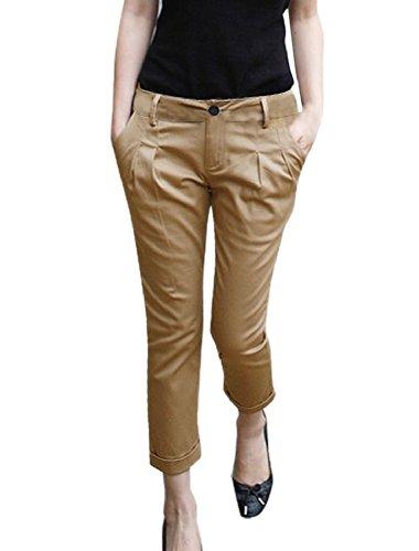Allegra K Women Zipped Cuffed Casual Fit Capri Cropped Pants (Woman Cropped Cuffed Pant)